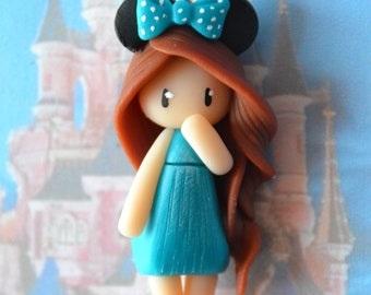 Baby Minnie dress blue, brown hair - Disney Collection - jewelry polymer clay handmade