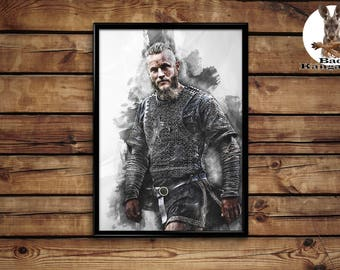 Ragnar Lodbrok poster Vikings wall art home decor print