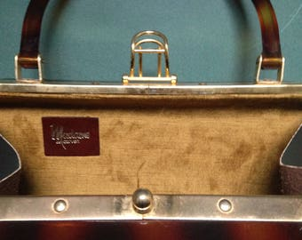 Madame Carven Interior velvet vintage 1950s bakelite handbag