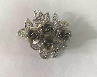 1950s 1960s Silver Flower Brooch
