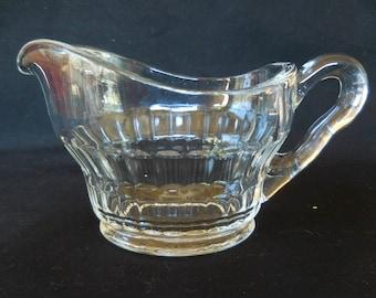 Vintage Depression Clear Glass Creamer with Vertical Design