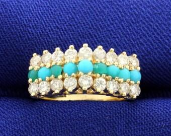 Vintage Turquoise & Diamond 14k Ring
