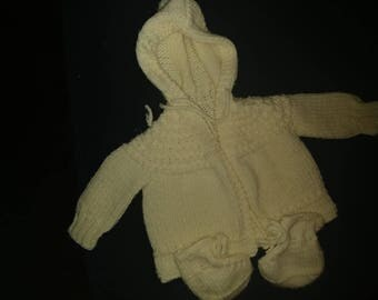 Cream Knit Baby Sweater and booties