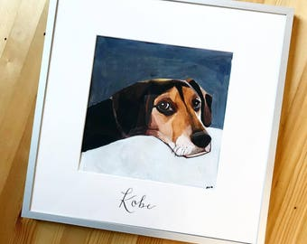 "Custom Pet Portrait, Simple Background 8""x8"""