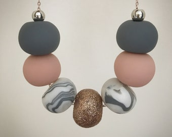 Nude, dark grey, marble and rose gold glitter beaded necklace
