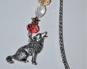 Sitting Wolf Bead Bookmark in English Pewter and Gift Boxed, Howling