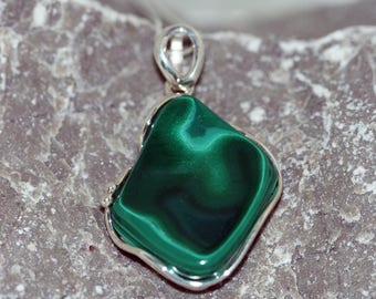 Subtle Malachite Pendant. Original shaped piece of Malachite in sterling silver setting. Handmade & unique.
