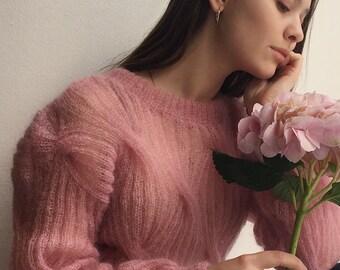 Silk mohair chain sweater