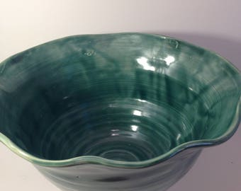 Wheelthrown and fluted large decorative and functional bowl