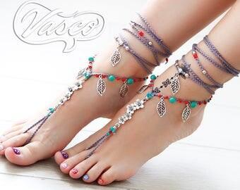 Silver Flower barefoot SANDALS foot jewelry hippie sandals toe ring anklet beaded crochet barefoot tribal sandal festival yoga wedding