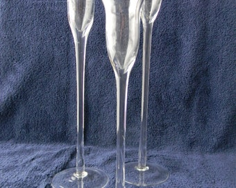 Glass Long Stemmed Taper Candle Holder Trio