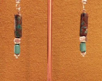 Brown and blue turquoise earrings