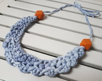 Chunky Blue Crochet Necklace with Caramel Beads
