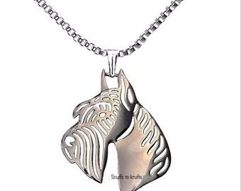 Hollow Detailed silver necklace Giant schnauzer pet memorial