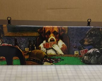 Dogs Playing Poker Billiards table light