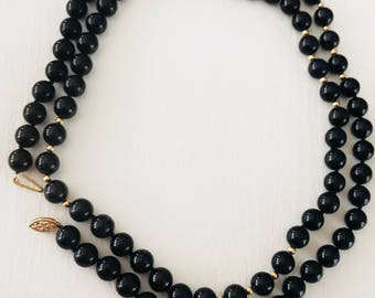 14k onyx gold and onyx bead necklace