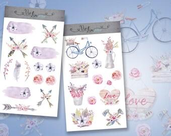 Sticker set Peony, Pfingsrose, bicycle, arrows