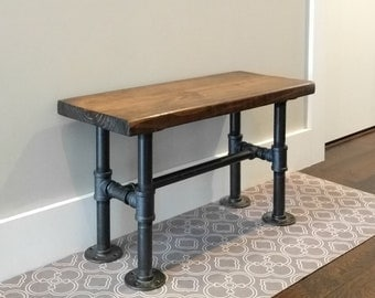 Wood Industrial Pipe Bench | Entryway Bench | Farmhouse Bench