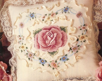 Candamar Designs Something Special  Embroidery Rose Heart Pillow