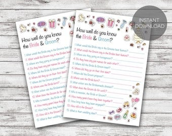 Hen Party Games. How well do you know the Bride & Groom. Printable Hen party game