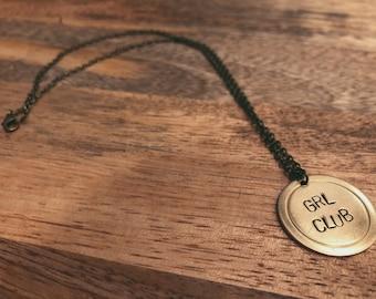 "International Women's Day ""GRL CLUB"" Pendant Necklace in Brass"