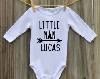 Little man baby outfit , Baby boy outfit , personalized baby boy , baby shower gift , coming home outfit