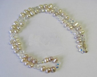 Baroque Freshwater Pearl and Crystal Necklace