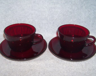 Royal Ruby R1700 Anchor Hocking Coffee Cups and Saucers by Anchor Hocking 4 Pcs