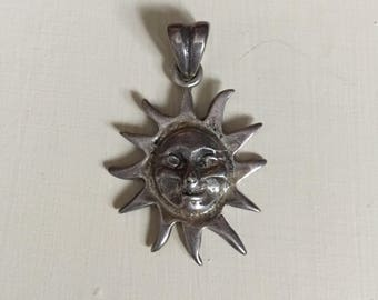 Vintage sterling silver sun face necklace pendant