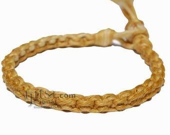 Ultra Soft Golden Brown Square Woven Surfer Bracelet/Anklet