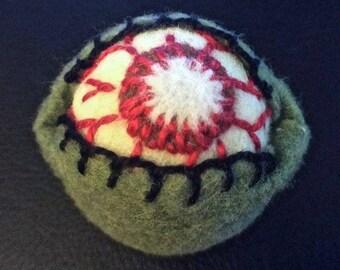 FREE SHIP Gross Zombie Eyeball Bottlecap Pincushion made to order