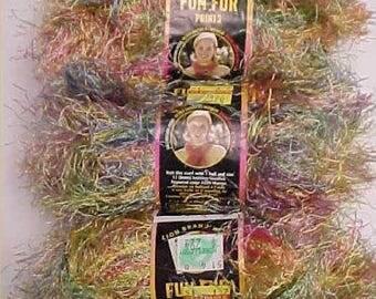 3 Lion Brand FUN FUR Yarn Confetti Polyester Eyelash Yarn Color 206 Knit Crochet
