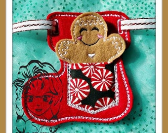 BaNNeR ADVENT PoCKeT Christmas SToCKiNG with GiNGeRBread ~ In the Hoop ~ Downloadable DiGiTaL Machine Embroidery Design by Carrie