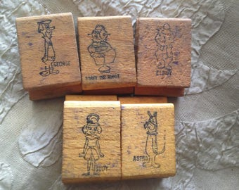 Jetsons Rubber Stamp Set Wood 1960s Vintage Toy George Rosie Astro Elroy Judy