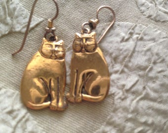 Laurel Burch Golden CATS Earrings French Ear Wires Vintage Jewelry 1980s Gold