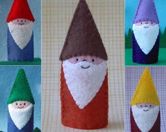 Little Gnome Finger Puppet - Gnome Puppet - Garden Gnome Finger Puppet - Felt Gnome Finger Puppet - Garden Puppet Knome