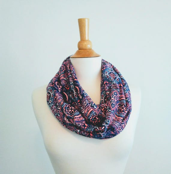 Paisley print infinity scarf neon pink blue purple medallion print scarf cotton jersey gift for her mothers day spring scarf