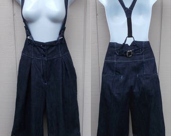 "Vintage Blue Denim cropped newsboy Suspender Pants / Crop overalls JUMPSUIT Onesie // sz Med ~ 30"" Waist"