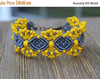 SUMMER SALE Micro-Macrame Beaded Cuff Bracelet - Grey and Yellow