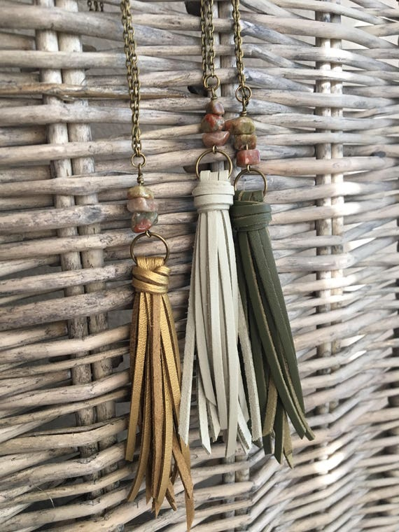 Tassel Necklace - Boho Layering Necklace in Fall Colors - Long Faux Suede Tassel + Autumn Jasper on Antique Brass Chain