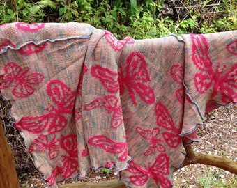 Butterfly throw, cotton butterfly blanket throw, boho square fly blanket, cut and sew, pink butterflies, gift for her, pastel butterflies
