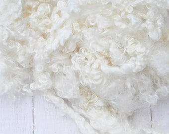 Natural Long White Wensleydale Locks - Washed - Curly, Wavy - Art Fiber - 2.6 Ounces
