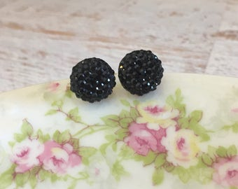Little Black Sparkling Bumpy Druzy Round Circle Stud Earrings with Surgical Steel Posts (SE13)