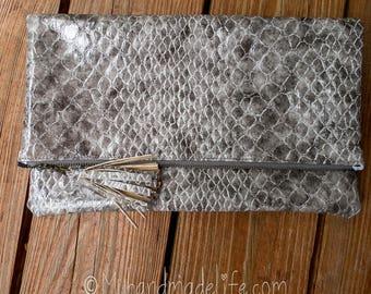 Faux Snake Skin Vinyl Foldover Clutch   Cute Foldover Clutch   Black Tie   Cute Simple Clutch   Gift Under 50   Bridesmaid Gift   Wedding