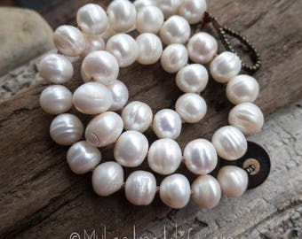 A+ Large white button freshwater pearl Necklace | Hand-knotted Pearl Necklace | Bride | Bridesmaid | Pearl Lover | Pearl Necklace Under 50