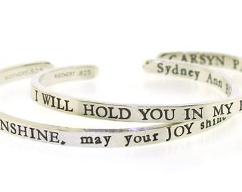 Personalized Bracelets for Women, Silver Bracelet Hand Stamped Custom Bracelet, Thick but Thin Style, inspirational quote bracelet