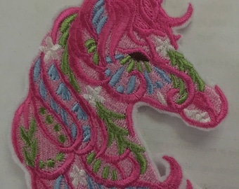 Carousal patch horse patch all embroidered pretty pink