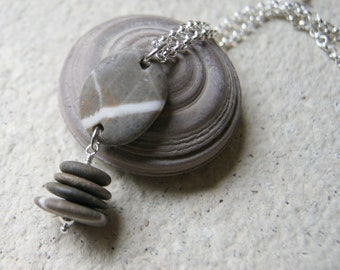 Brown Beach Stone Cairn Necklace