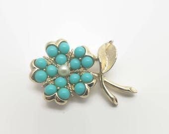 Vintage Sarah Coventry Flower Blue Bead Faux Pearl Pin