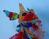 "DRAGON, PRIMO, OOAK - 12"" (30 cm) Tall, 17"" (43 cm) in Length, Art Doll, Sculpture, Cloth Doll, Michelle Munzone, Gift Idea,"